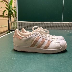 Adorable Adidas with pink fabric stripes